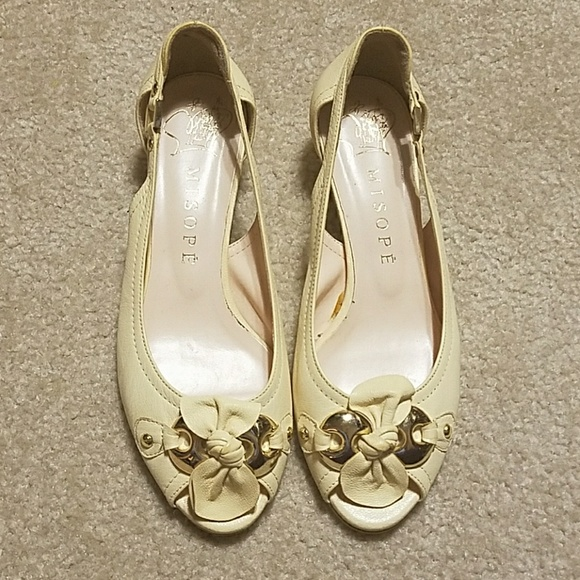 07d3be91159 Misope Cream/Pale Yellow Peep Toe Shoes